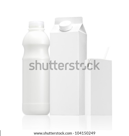 various package of Milk or juice - Realistic photo image., Group of Milk or juice pack isolated  on white background - stock photo