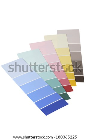 Various paint samples on white background - stock photo