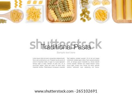 various pasta on white background top view - stock photo