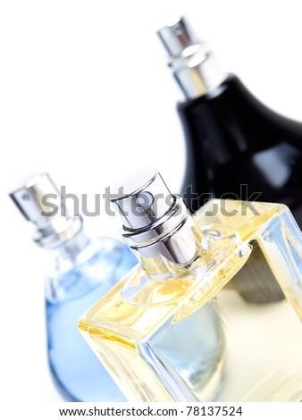 Various perfume bottles isolated on white background - stock photo