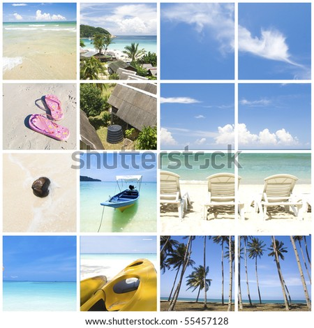 various photo collage of tropical summer beach - stock photo