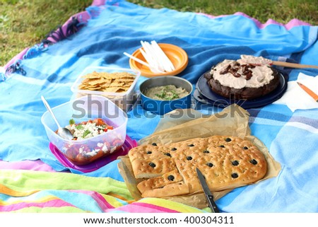 Various picnic food: vegetable and feta salad, baba ghanoush, gluten-free crackers, olive bread and date chocolate cake. Selective focus.  - stock photo