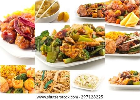 Various popular Chinese food take out dishes in collage image