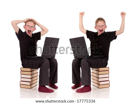 Various poses of young Child with laptop sitting on books, encyclopedia, studio, white background.
