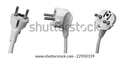 various position of electric plug outlet on white background with clipping path - stock photo