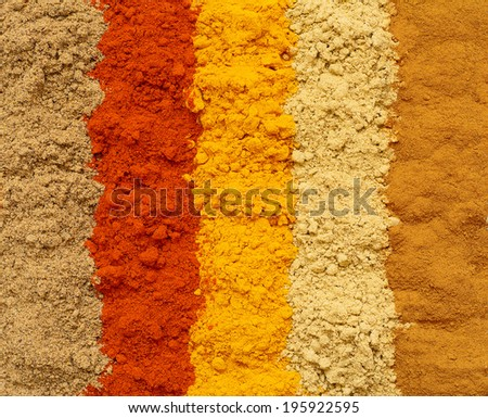 Various powdered spices - food background - stock photo