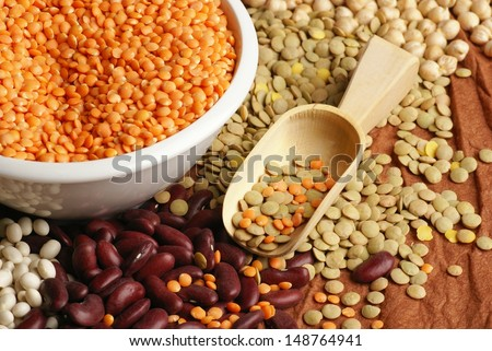 Various pulses - chickpea, lentil and beans - stock photo