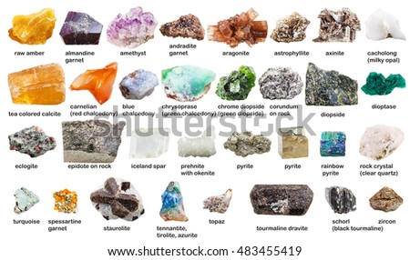 various raw gemstones and crystals with names isolated on white background