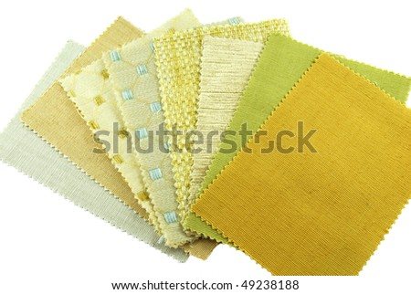 various samples of fabric choice - stock photo