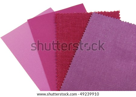 various samples of fabric choice in purple,violet and pink color isolated on white - stock photo