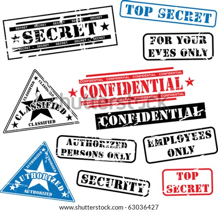 Various security rubber stamps (top secret, confidential etc.) - stock photo