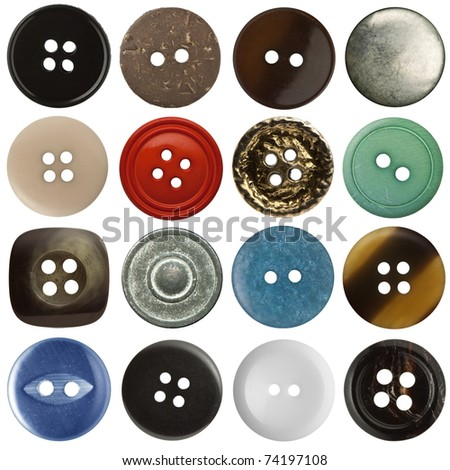 Various sewing buttons set on white background - stock photo
