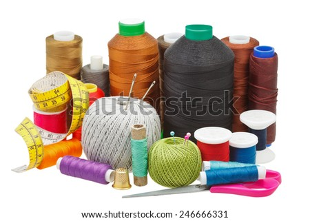 various sewing objects isolated on white background - stock photo