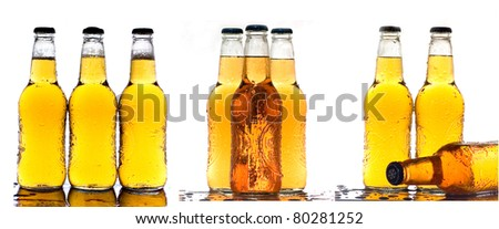 various shots of cold beer isolated on white - stock photo
