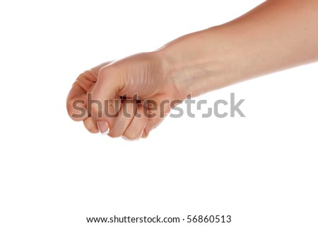 Various signs hands and palms isolated on white background