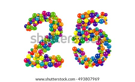Various sized green, red, blue and yellow balls in the shape of number twenty five over white background