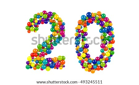 Various sized green, red, blue and yellow balls in the shape of number twenty over white background