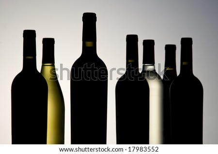 various sizes and varietals of wine bottles,neutral background,mostly front bottle is sharpest - stock photo