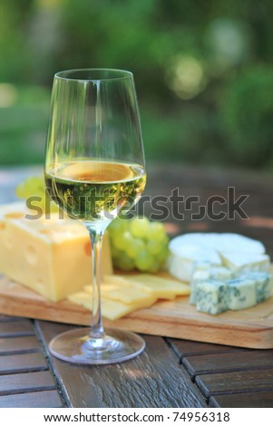 Various sorts of cheese, grapes and one glass of the white wine - stock photo