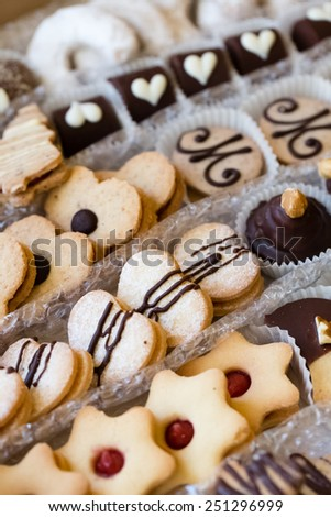 Various sorts of traditional Czech Christmas cookies - stock photo