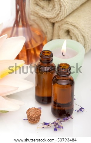 Various spa and aromatherapy objects