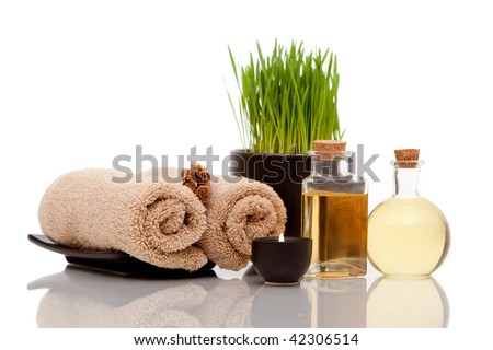 Various spa items on white background