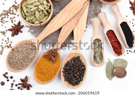 Various spices and herbs close up