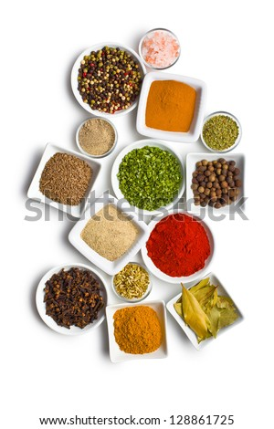 Various spices and herbs on white background. - stock photo