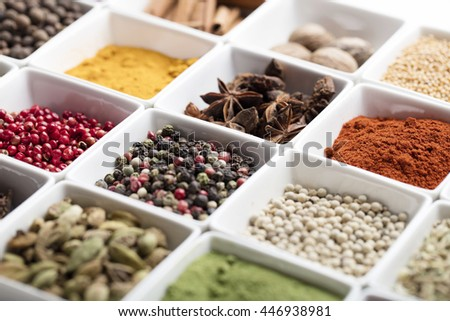 Various spices and herbs on white background, spices selection, close up - stock photo