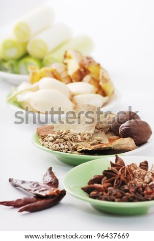 Various spices, Asia hotpot materials - stock photo