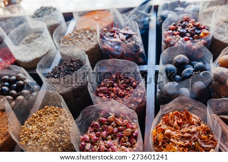 Various Spices At The Spice Souk In Deira. UAE Dubai - stock photo