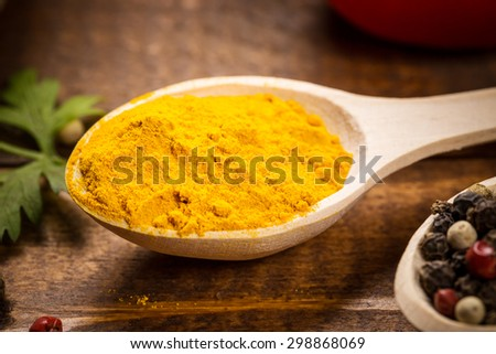 Various spices for cooking oh the wood table - stock photo