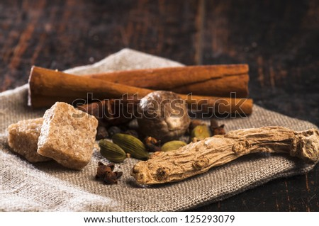 Various spices for masala tea - stock photo