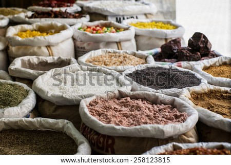 various spices in a bags