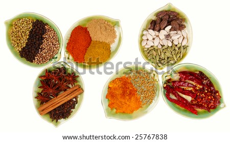 various Spices in six leaf shape plates isolated - stock photo