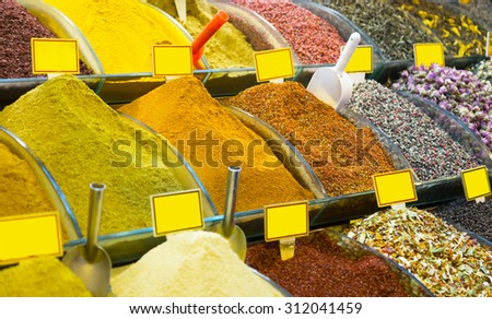 Various spices on a counter on the Grand Bazaar in Istanbul, Turkey - stock photo