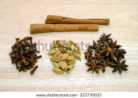 Various spices on a wooden background.