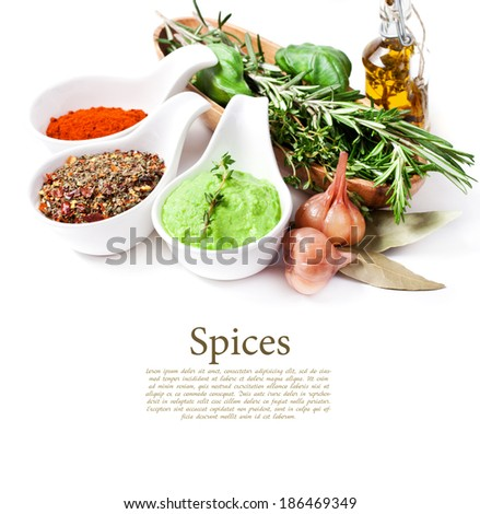 Various spices on white - stock photo