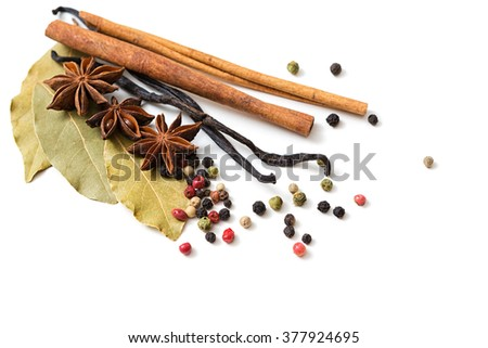 Various spices on white background - stock photo