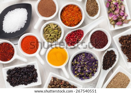 Various spices on white wooden background. Top view - stock photo