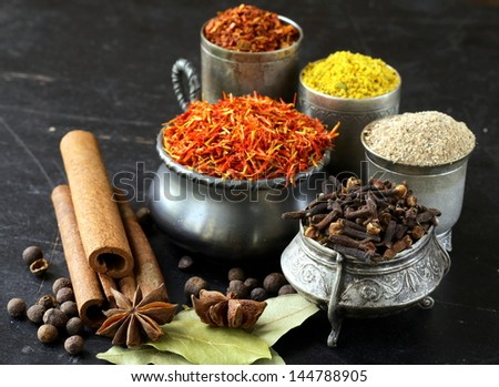 various spices (paprika, turmeric, pepper, aniseed, cinnamon, saffron) - stock photo