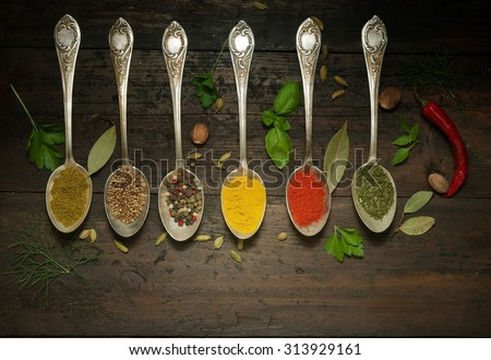 Various spices selection. - stock photo
