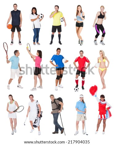 Various sports people. Isolated on white background - stock photo