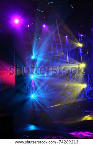 various stage lights of different colors