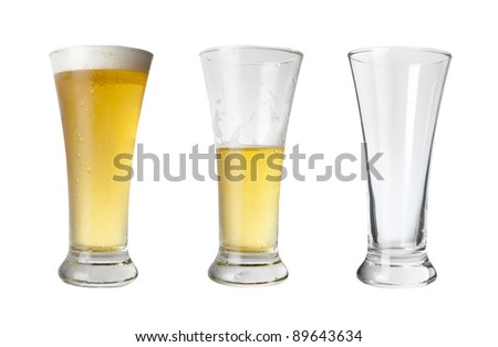 Various stages of drinking a beer - stock photo