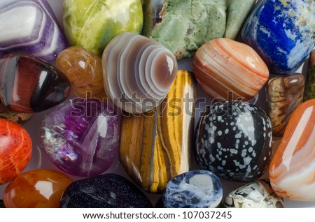 Various stones, minerals, gems. Natural background - stock photo