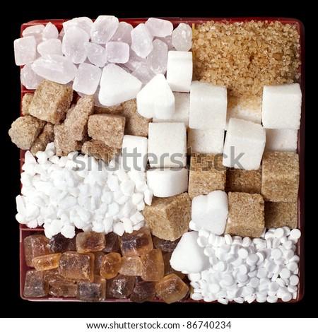 Various sugar  in  box - stock photo