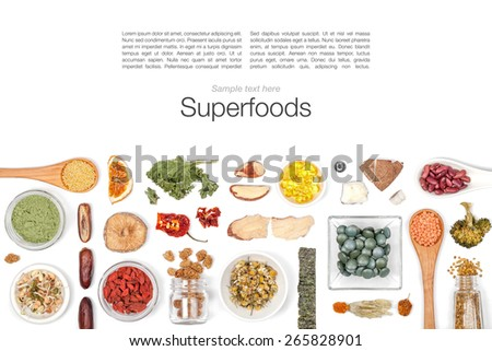 various superfood on white background top view - stock photo