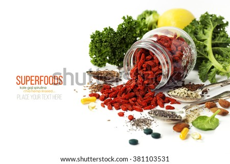 Various superfoods on white background. Healthy food, diet, vegetarian or clean eating concept. - stock photo