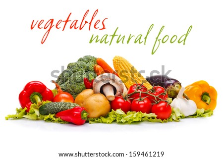 Various tasty fresh organic foods with place for your text on white  - stock photo